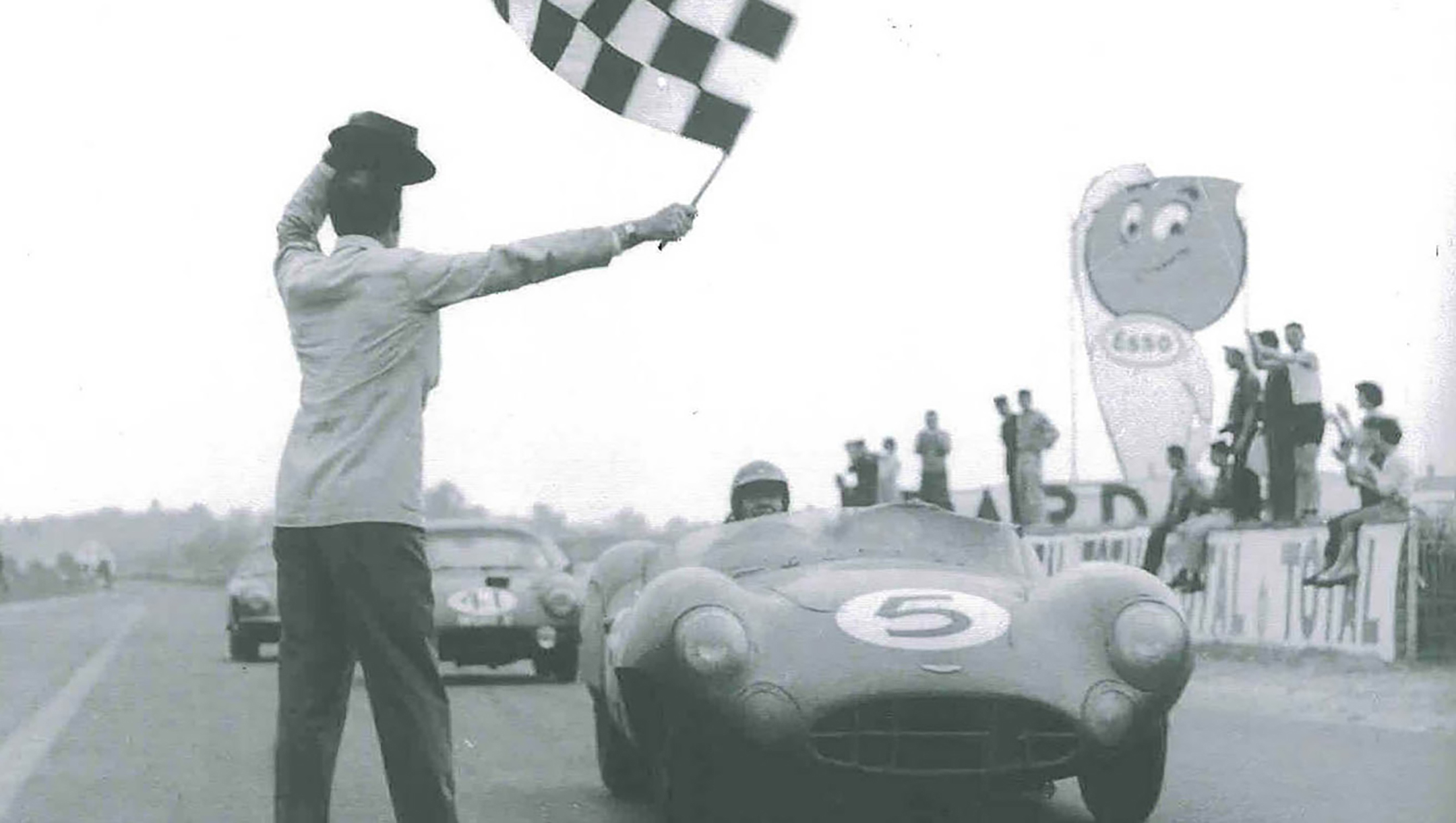Carroll Shelby - Aston Martin - finish line Le Mans - 1959 - heritage photography - via Shelby America