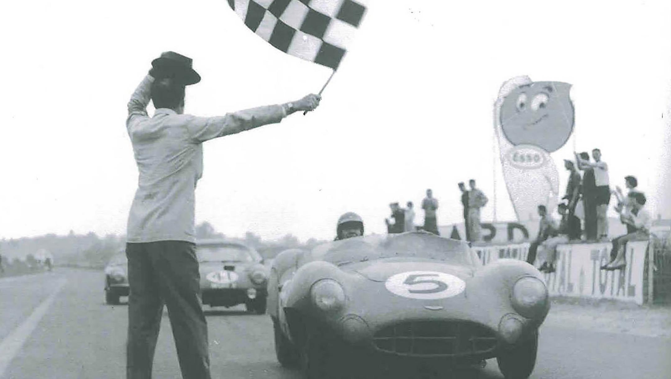 Carroll Shelby - Aston Martin - finish line Le Mans - 1959 - heritage photography - via Shelby America