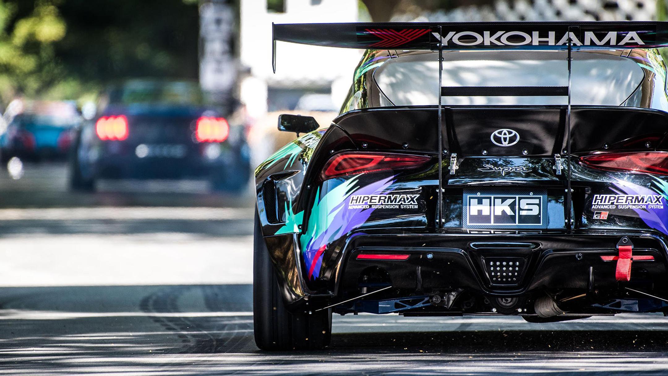 HKS Toyota GR Supra Drift - 2019 - track rear-face - Festival Of Speed - photo via Toyota UK