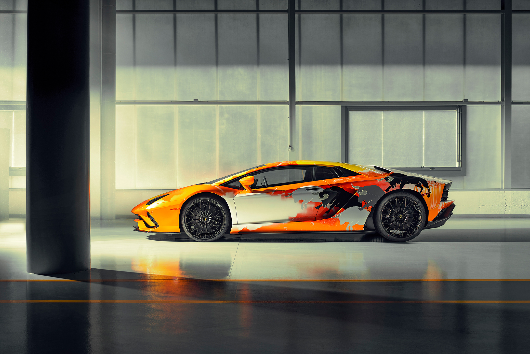 Lamborghini one-off Aventador S by Skyler Grey Art - 2019 - side-face left / profil gauche